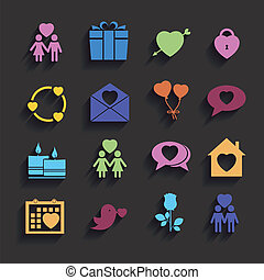 love icons set in flat style.
