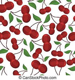 Seamless pattern of cherrys, vector illustration.
