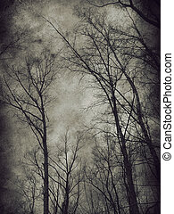 Dark trees - Dark grunge paper background with bare trees.