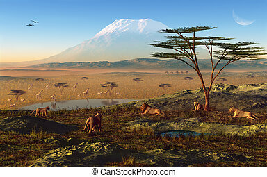 African Sunrise - This image shows a national park in africa...
