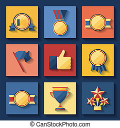 Trophy and awards icons set - Trophy and awards icons set