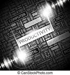 PRODUCTIVITY. Word cloud concept illustration. Wordcloud...
