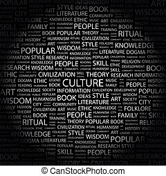CULTURE. Concept illustration. Graphic tag collection....