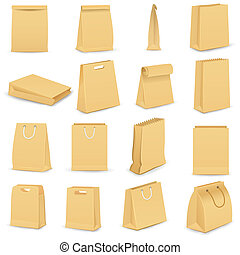 Paper Bag - vector illustration of collection of brown paper...