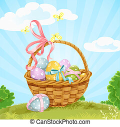 Basket with Easter eggs on the lawn