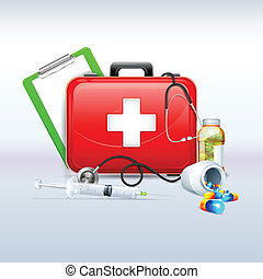 First aid Box - illustration of first aid box with capsule...