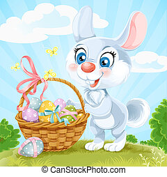 Cute Easter Bunny with a basket of eggs on the green lawn