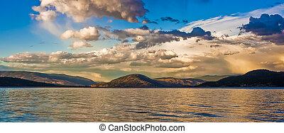 Scenic Sunset on Mountain lake