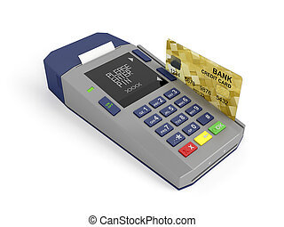 Paying with credit card - Credit card and card reader, 3d...