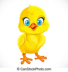 Cute yellow cartoon baby chicken isolated on a white...