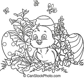 Outlined cute Easter chick