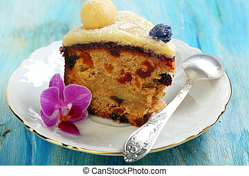 Piece Easter cake with candied fruit and marzipan - Easter...
