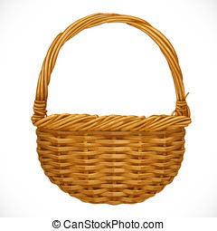 Realistic wicker basket isolated on white background. Vector...