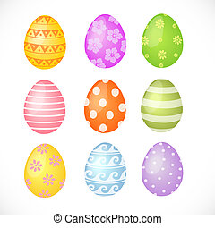 Set of colored Easter eggs isolated on white background