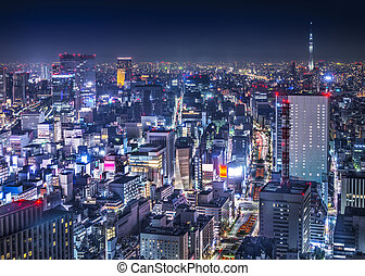 Tokyo Cityscape Over Ginza - Tokyo, Japan cityscape aerial...