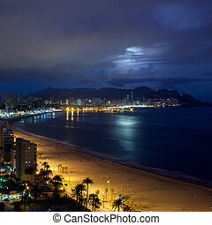 View of Benidorm at night, Costa Blanca, Spain