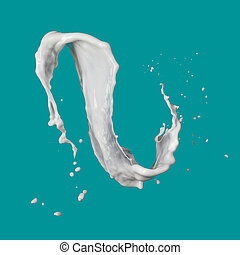 milk splash isolated on blue background