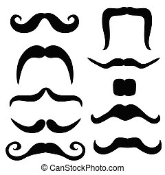 mustache set black vector illustration on white