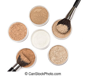 Makeup brushes with loose cosmetic powder - Makeup brushes...