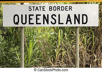 State border - Queensland - State border between Queensland...