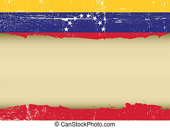 Venezuelan scratched flag - A Venezuelan flag with a large...