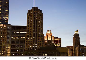 Night in Chicago - Tribune Builidng on Michigan Avenue