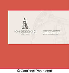 Oil rig card. - Oil rig card for your business. Vector...