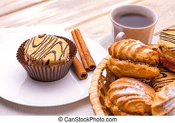 manhã, pequeno almoço, café, fresco,...