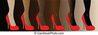 Red Stiletto Heel Shoes - Legs in various skin tones, all...