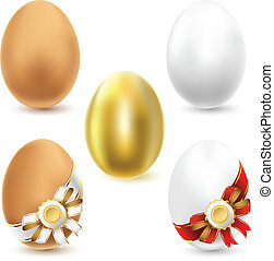 chicken eggs - Chicken eggs isolated on white background...