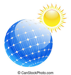 solar panel - Illustration of the sun and solar panels....