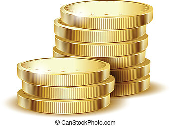 coins gold - illustration of golden coins isolated on a...