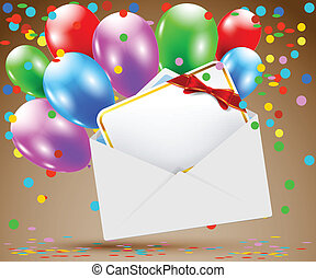 Birthday - Illustration of an Envelope with a Card and...