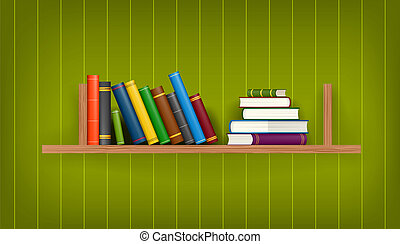Row and stack of colorful books