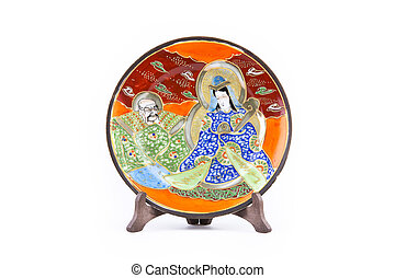Piatto - Chinese art, porcelain plate on a white background