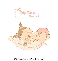 baby shower card with pretty girl