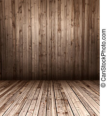 wooden floor and wall - background and texture concept -...