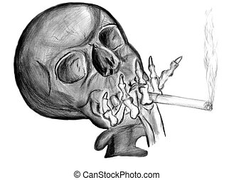 smoking cigarette. skull with a cigarette in his bony hand