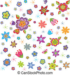 Wallpaper with abstract flowers
