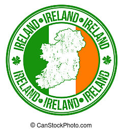 Ireland stamp - Grunge rubber stamp with ireland flag, map...