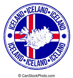 Iceland stamp - Grunge rubber stamp with iceland flag, map...
