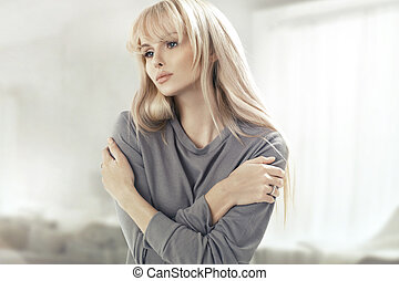 Portrait of the beautiful blonde woman - Portrait of the...
