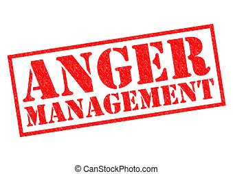 ANGER MANAGEMENT red Rubber Stamp over a white background.