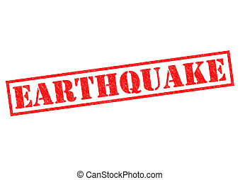 EARTHQUAKE red Rubber Stamp over a white background