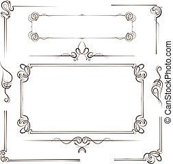 Vintage set vector frame and border - Vintage multilayer set...