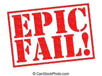 EPIC FAIL red Rubber Stamp over a white background
