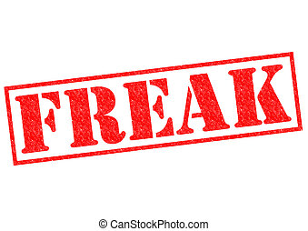 FREAK red Rubber Stamp over a white background