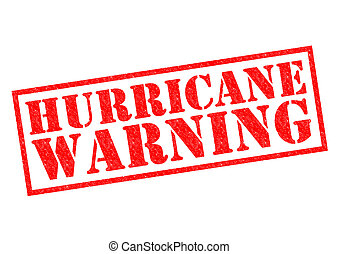 HURRICANE WARNING red Rubber Stamp over a white background.