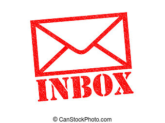 INBOX red Rubber Stamp over a white background.
