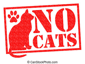 NO CATS red Rubber StampSign over a white background